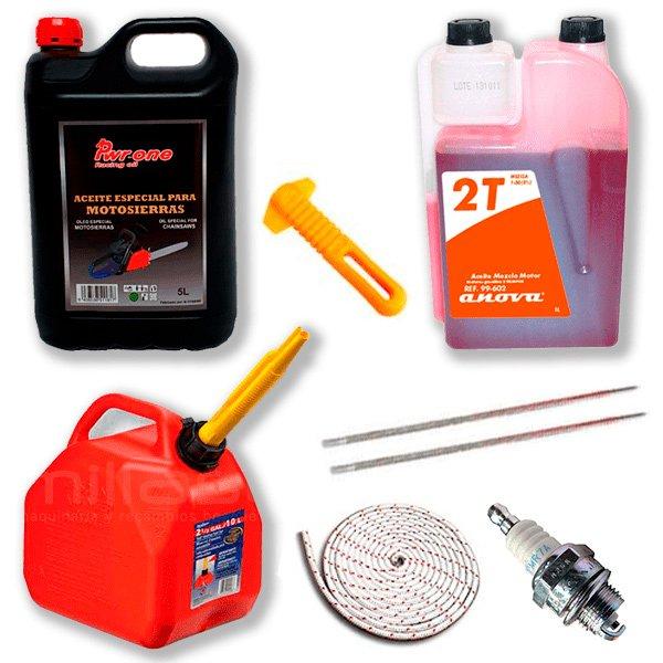 Kit Aceite engrase 5l, Aceite de mezcla 1L, Garrafa 5L, Bujía, Cuerda de arranque, 2 Limas y mango