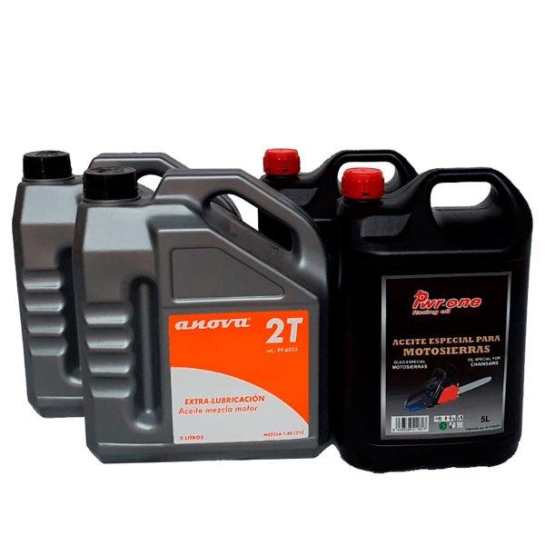 Pack de 2 aceites de mezcla 5L y 2 aceites de engrase cadena motosierra 5L